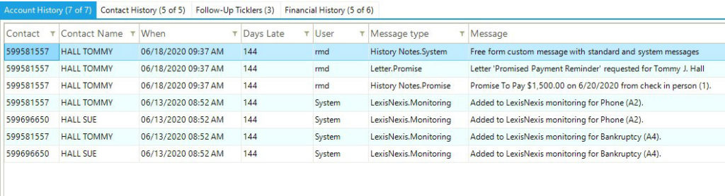 Debt collection management system account history screenshot.