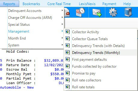 Debt collection management system report library screenshot.